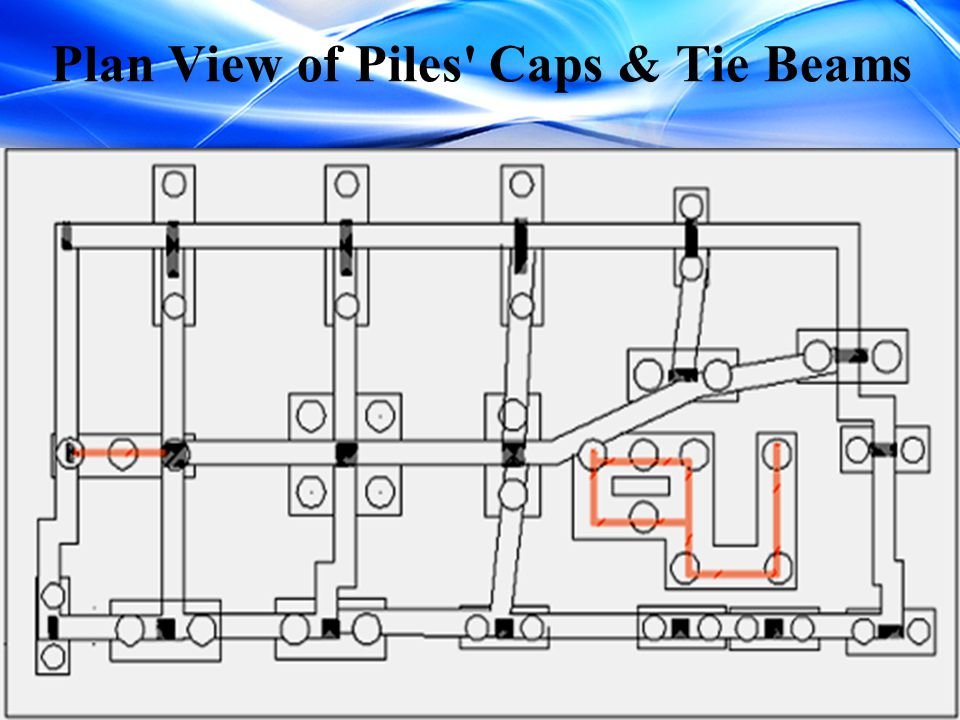 Plan View of Piles' Caps & Tie Beams