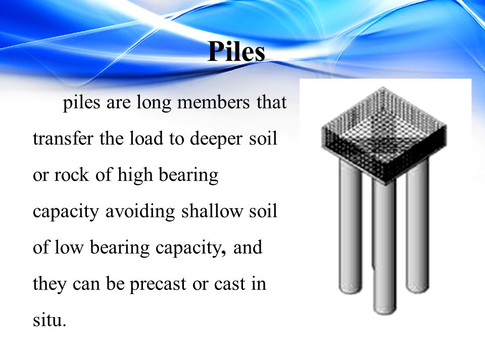 Piles  Classification of piles with respect to load transmission: End bearing piles.