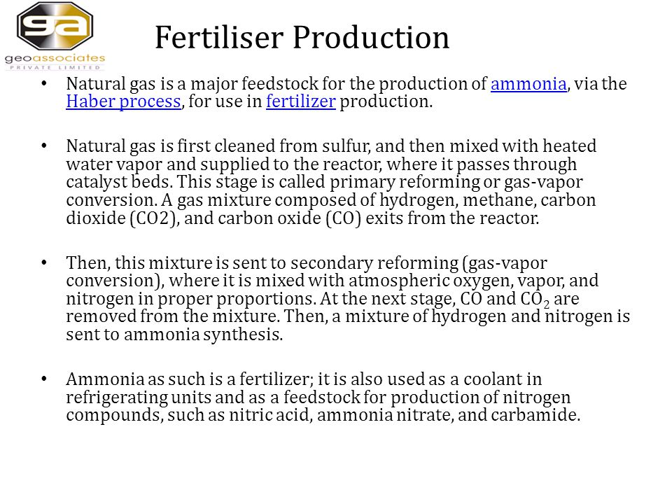 Fertiliser Production Natural gas is a major feedstock for the production of ammonia, via the Haber process, for use in fertilizer production.ammonia Haber processfertilizer Natural gas is first cleaned from sulfur, and then mixed with heated water vapor and supplied to the reactor, where it passes through catalyst beds.