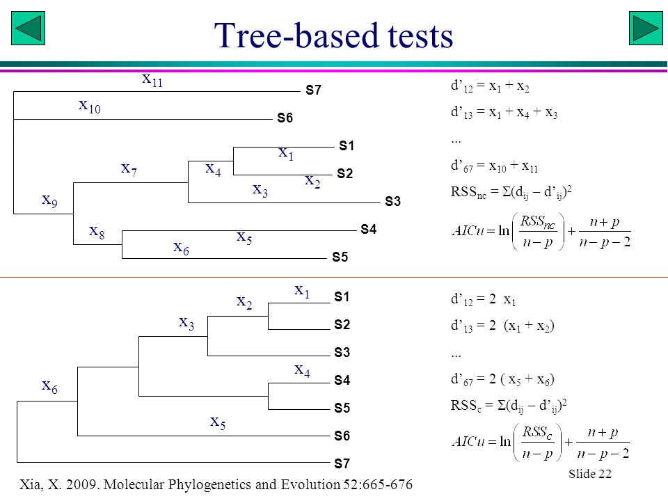 Xuhua Xia Slide 22 Tree-based tests S5 S4 S3 S2 S1 S6 S7 x5x5 x7x7 x2x2 x6x6 x1x1 x4x4 x3x3 x8x8 x 10 x 11 x9x9 d' 12 = x 1 + x 2 d' 13 = x 1 + x 4 + x 3...