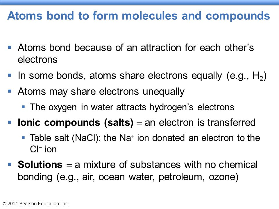 Atoms bond to form molecules and compounds  Atoms bond because of an attraction for each other's electrons  In some bonds, atoms share electrons equ