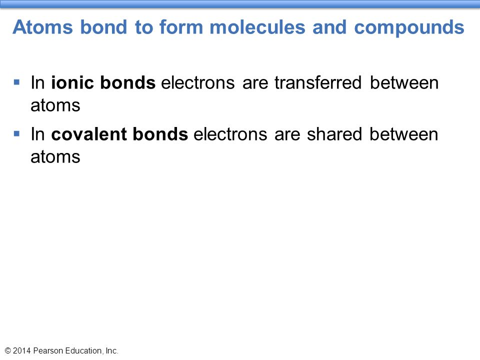 Atoms bond to form molecules and compounds  In ionic bonds electrons are transferred between atoms  In covalent bonds electrons are shared between a