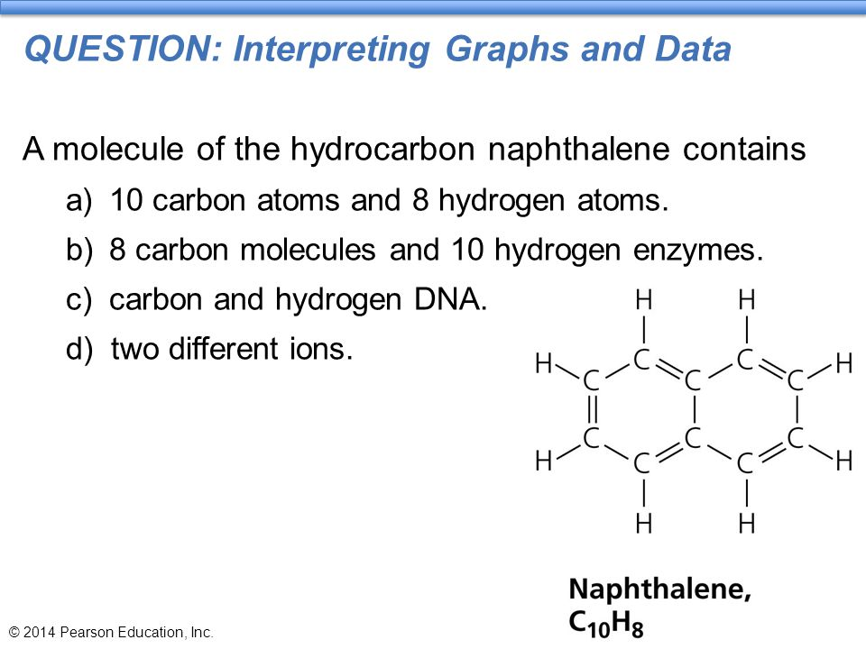 QUESTION: Interpreting Graphs and Data A molecule of the hydrocarbon naphthalene contains a)10 carbon atoms and 8 hydrogen atoms. b)8 carbon molecules