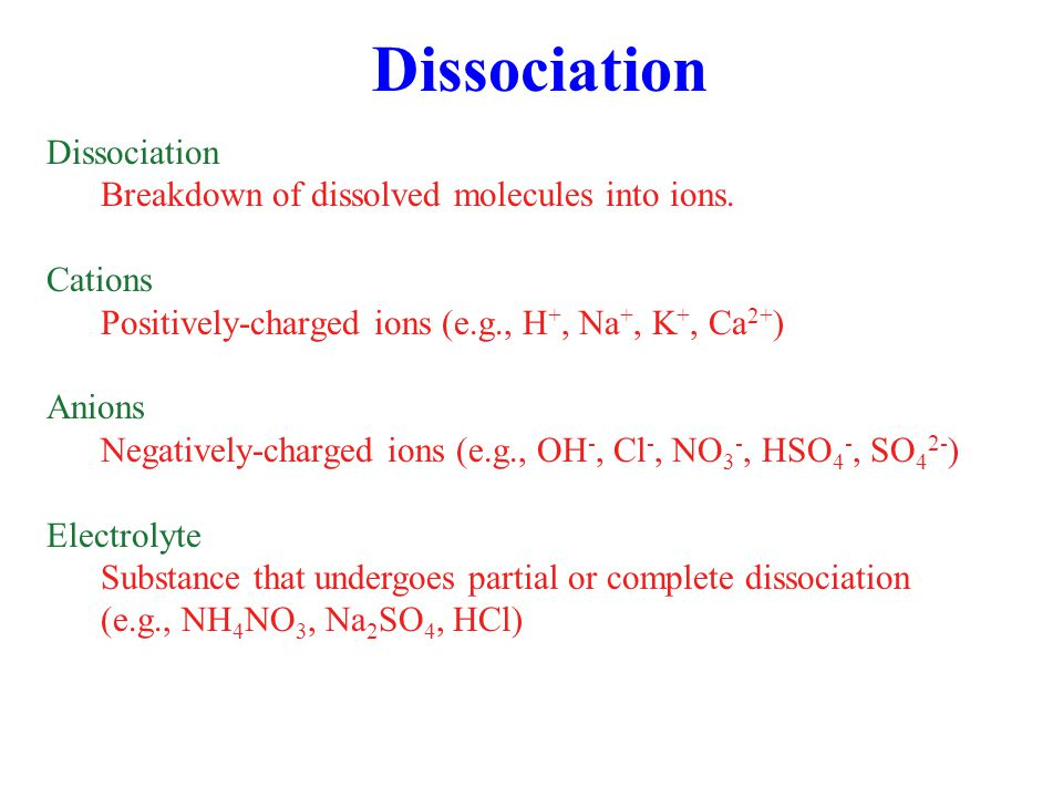 Dissolution/Dissociation (5.6) - (5.8) Hydrochloric acid Nitric acid Addition of acid to solution increases [H + ], decreasing pH