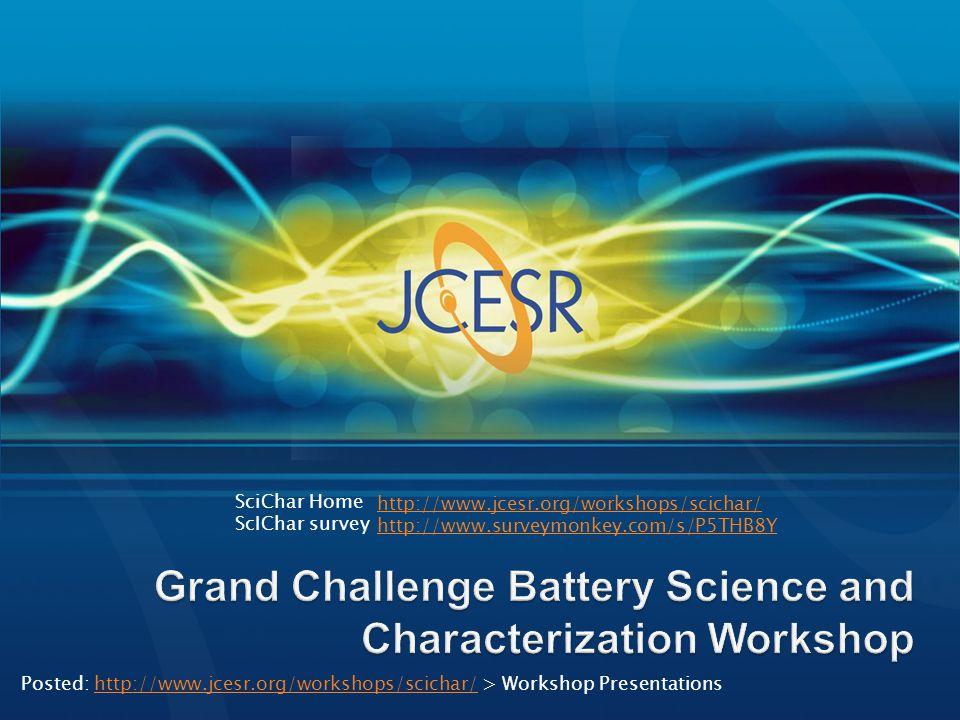 http://www.jcesr.org/workshops/scichar/ http://www.surveymonkey.com/s/P5THB8Y SciChar Home ScIChar survey Posted: http://www.jcesr.org/workshops/scich