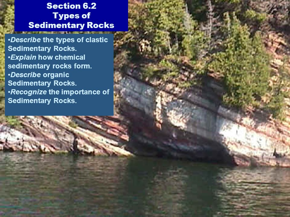 Section 6.2 Types of Sedimentary Rocks Describe the types of clastic Sedimentary Rocks. Explain how chemical sedimentary rocks form. Describe organic