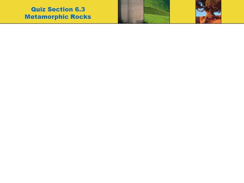 Quiz Section 6.3 Metamorphic Rocks