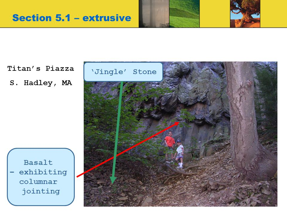Section 5.1 – extrusive Titan's Piazza S. Hadley, MA Basalt – exhibiting columnar jointing 'Jingle' Stone