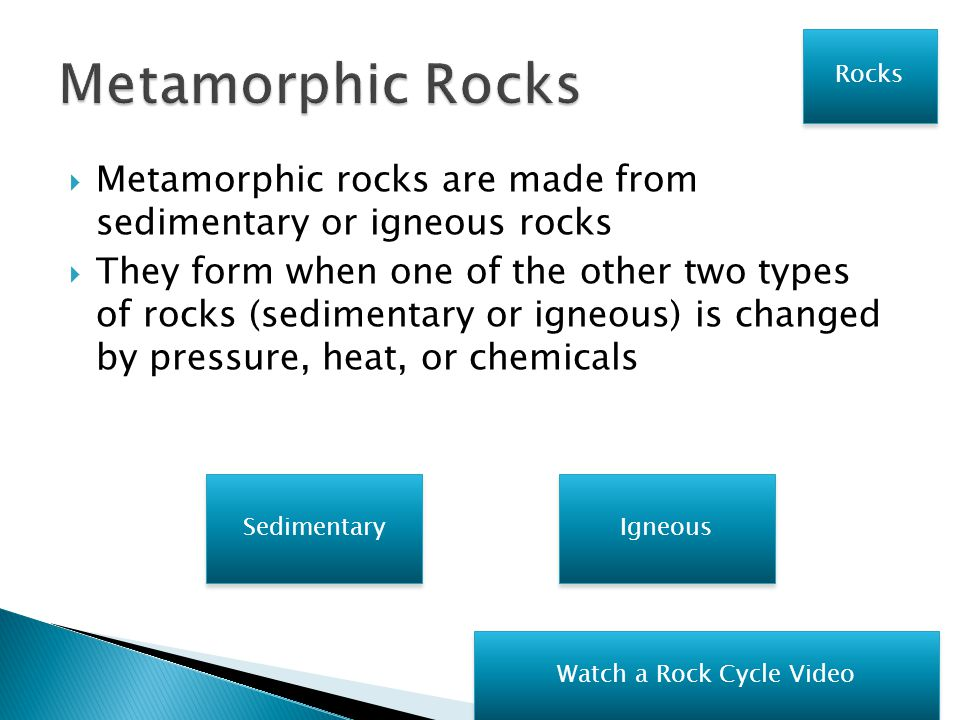  Igneous rocks are made from lava  They form when lava cools and hardens Sedimentary Metamorphic Rocks Watch a Rock Cycle Video