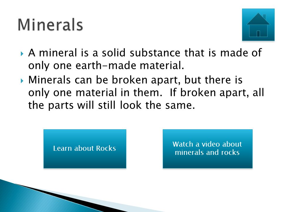 Minerals and rocks are both solid substances that are made from earth materials. However, there are some important differences between minerals and ro