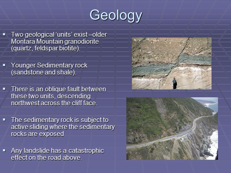 Geology  Two geological 'units' exist –older Montara Mountain granodiorite (quartz, feldspar biotite).
