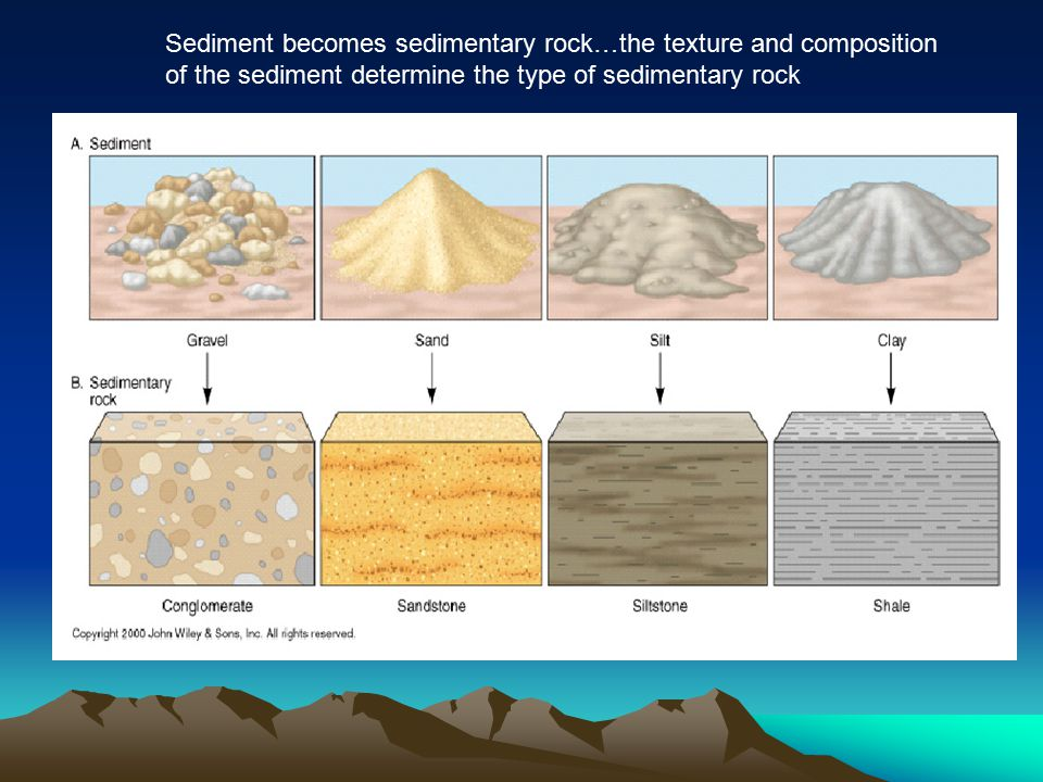 Sediment becomes sedimentary rock…the texture and composition of the sediment determine the type of sedimentary rock