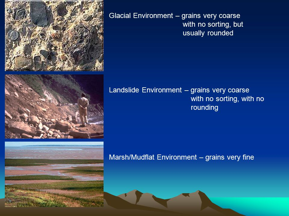 Glacial Environment – grains very coarse with no sorting, but usually rounded Landslide Environment – grains very coarse with no sorting, with no rounding Marsh/Mudflat Environment – grains very fine