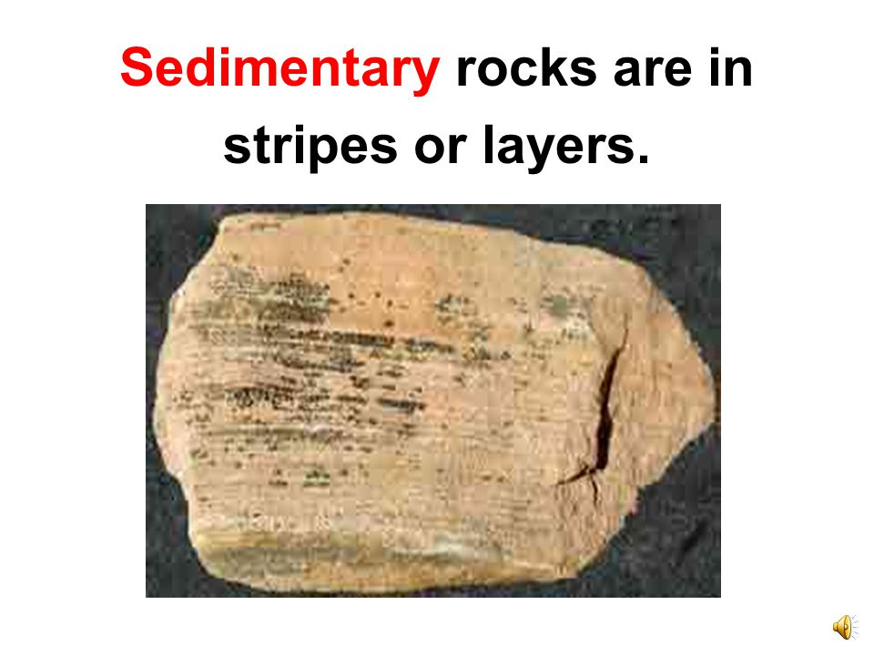 Sedimentary rocks are made by the slow hardening of tiny bits of rock, or sediment, into layers.