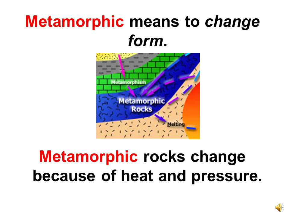 Metamorphic rocks are squished and folded.