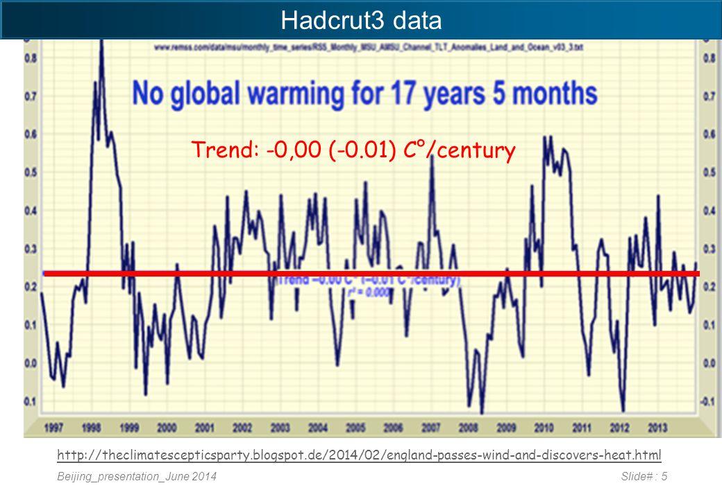 Beijing_presentation_June 2014Slide# : 5 http://theclimatescepticsparty.blogspot.de/2014/02/england-passes-wind-and-discovers-heat.html Trend: -0,00 (-0.01) C°/century Hadcrut3 data