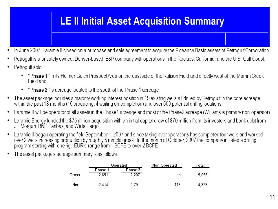 LE II Initial Asset Acquisition Summary 11 In June 2007, Laramie II closed on a purchase and sale agreement to acquire the Piceance Basin assets of Petrogulf Corporation Petrogulf is a privately owned, Denver-based, E&P company with operations in the Rockies, California, and the U.S.