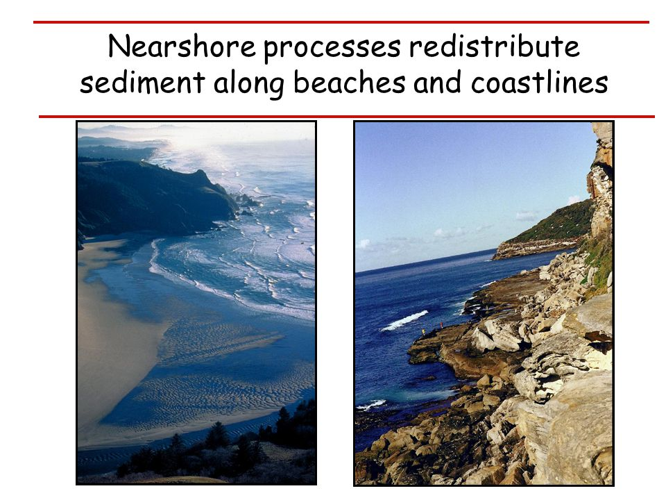 Nearshore processes redistribute sediment along beaches and coastlines