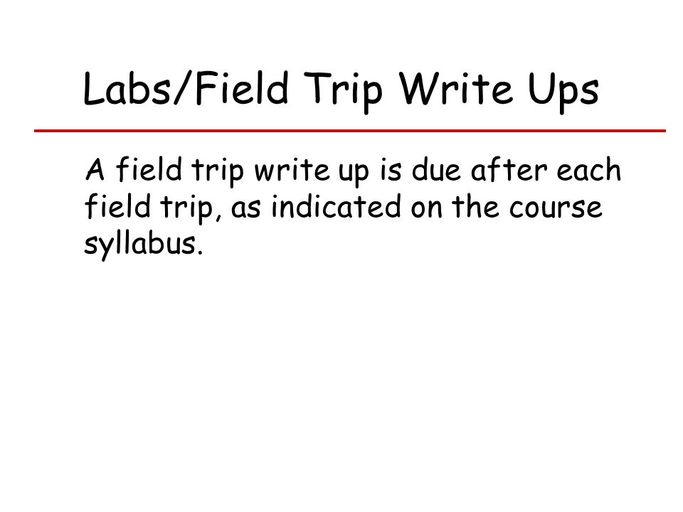 Labs/Field Trip Write Ups A field trip write up is due after each field trip, as indicated on the course syllabus.