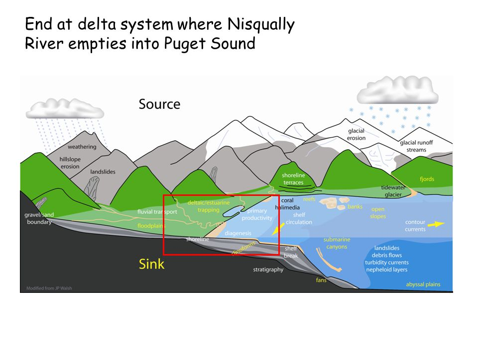 End at delta system where Nisqually River empties into Puget Sound