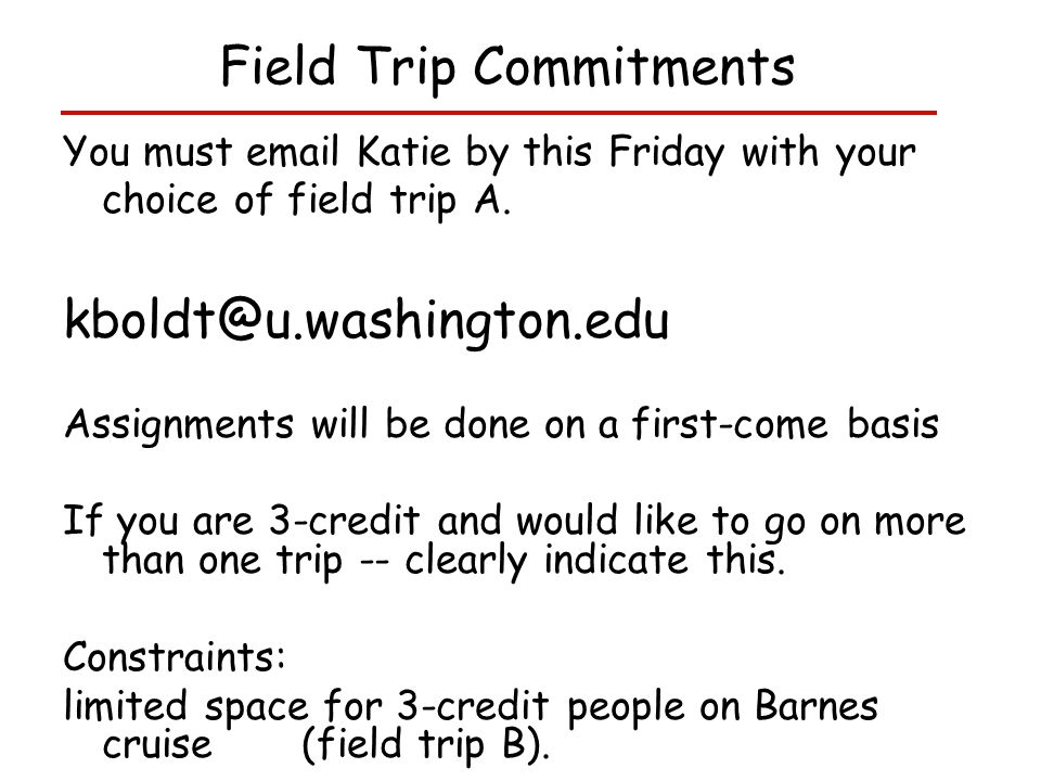 You must email Katie by this Friday with your choice of field trip A.
