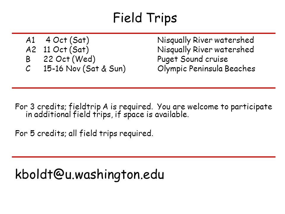 Field Trips A1 4 Oct (Sat) Nisqually River watershed A211 Oct (Sat) Nisqually River watershed B22 Oct (Wed) Puget Sound cruise C15-16 Nov (Sat & Sun) Olympic Peninsula Beaches For 3 credits; fieldtrip A is required.