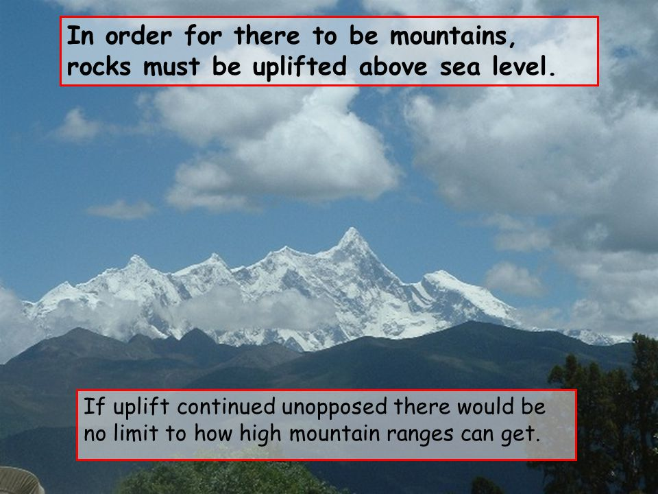 In order for there to be mountains, rocks must be uplifted above sea level.