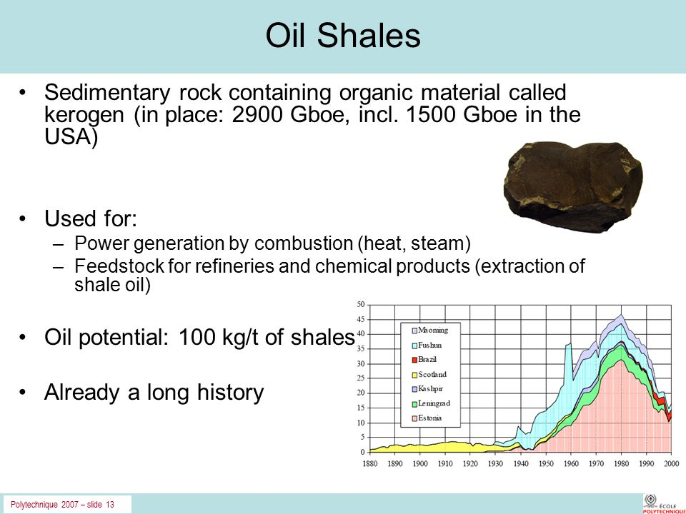 Polytechnique 2007 – slide 13 Oil Shales Sedimentary rock containing organic material called kerogen (in place: 2900 Gboe, incl.