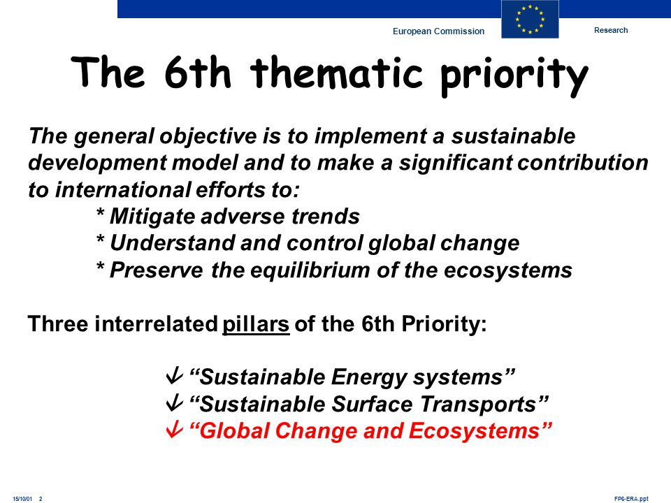 Research European Commission FP6-ERA.ppt15/10/01 2 The 6th thematic priority The general objective is to implement a sustainable development model and to make a significant contribution to international efforts to: * Mitigate adverse trends * Understand and control global change * Preserve the equilibrium of the ecosystems Three interrelated pillars of the 6th Priority:  Sustainable Energy systems  Sustainable Surface Transports  Global Change and Ecosystems