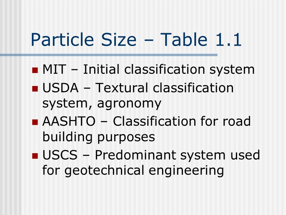 Particle Size – Table 1.1 MIT – Initial classification system USDA – Textural classification system, agronomy AASHTO – Classification for road building purposes USCS – Predominant system used for geotechnical engineering