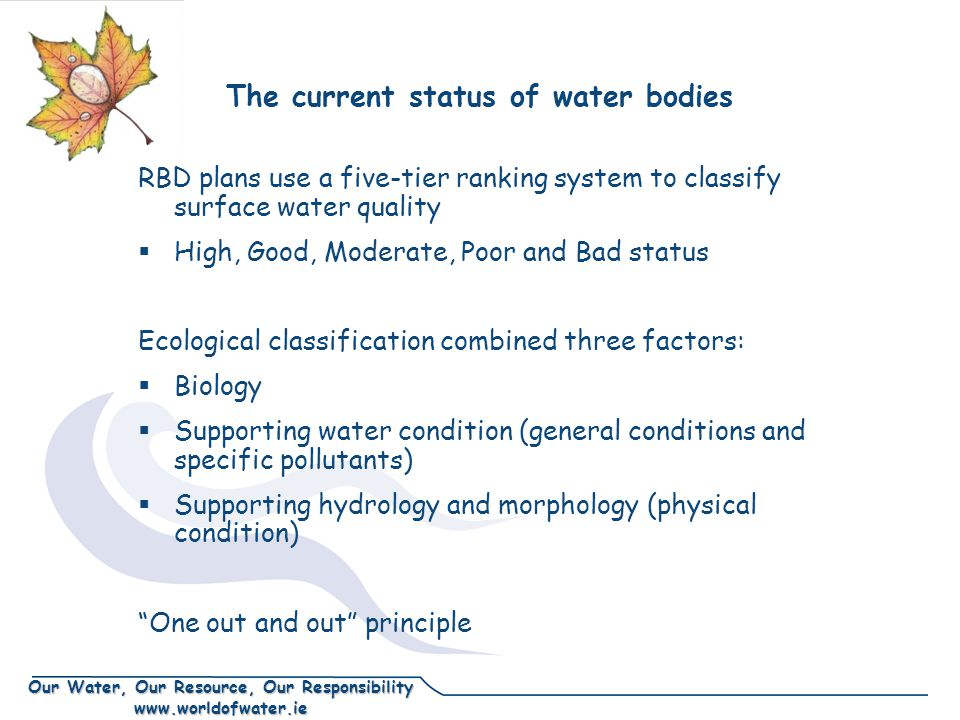Our Water, Our Resource, Our Responsibility www.worldofwater.ie The current status of water bodies RBD plans use a five-tier ranking system to classify surface water quality  High, Good, Moderate, Poor and Bad status Ecological classification combined three factors:  Biology  Supporting water condition (general conditions and specific pollutants)  Supporting hydrology and morphology (physical condition) One out and out principle