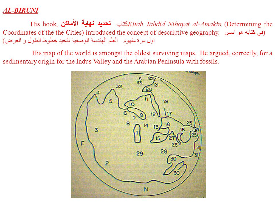AL-BIRUNI His book, تحديد نهاية الأماكن كتاب Kitab Tahdid Nihayat al-Amakin (Determining the Coordinates of the the Cities) introduced the concept of descriptive geography.