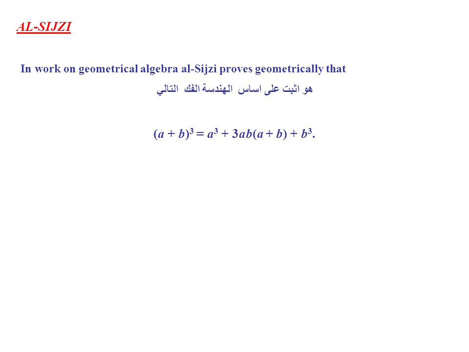 AL-SIJZI In work on geometrical algebra al-Sijzi proves geometrically that هو اثبت على اساس الهندسة الفك التالي (a + b) 3 = a 3 + 3ab(a + b) + b 3.