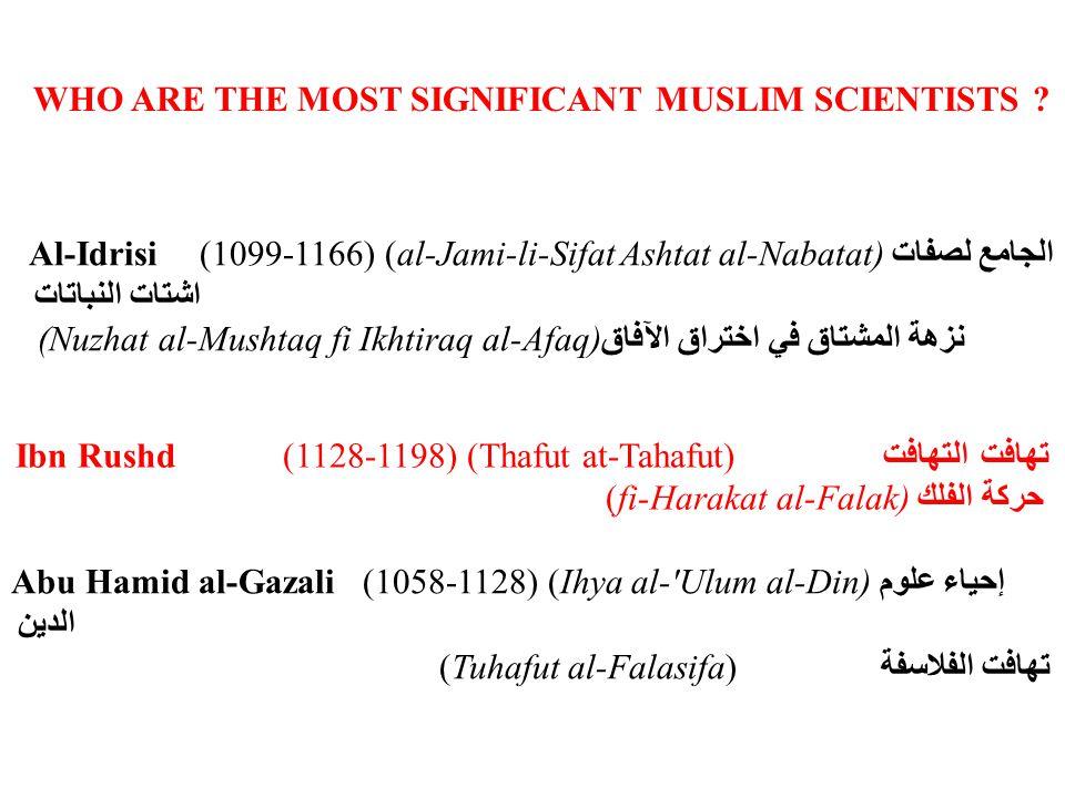 Ibn al-Baitar (died 1248) (al-Jami fi al-Adwiya al- Mufrada) الجامع في الأدوية المفردة Nasir al-Din al-Tusi (1201-1274) (al-Tadhkira fi ilm al-hay a) التذكرة في علم الهيئة Ibn al-Nafis (1213-1288) (Al-Shamil fi al-Tibb) الشامل في الطب al-Mukhtar fi al-Aghdhiya) المختار في الأغذية Ibn Khaldun(1332-1395) (Muqaddimah) المقدمة Ibn al-Haitham(Died 803) (al-Manazir) المناظر El Zahrawi (940-1013)Father of surgery (Al-Tasrif) التصريف