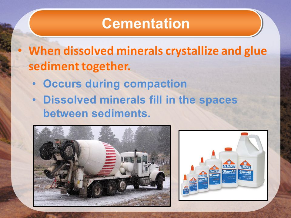 Cementation When dissolved minerals crystallize and glue sediment together. Occurs during compaction Dissolved minerals fill in the spaces between sed