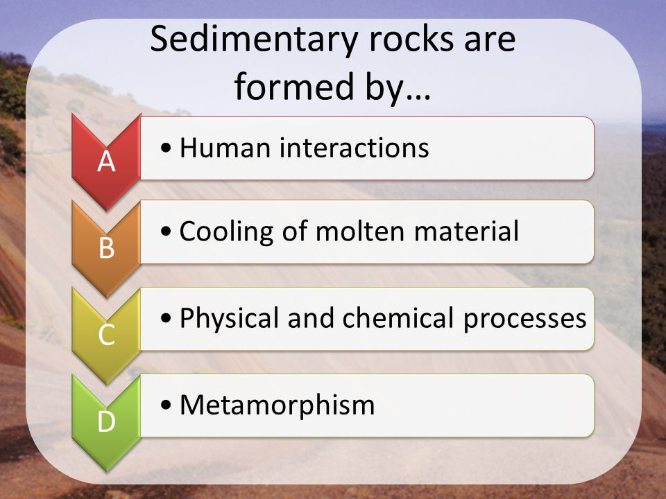 Sedimentary rocks are formed by… A Human interactions B Cooling of molten material C Physical and chemical processes D Metamorphism