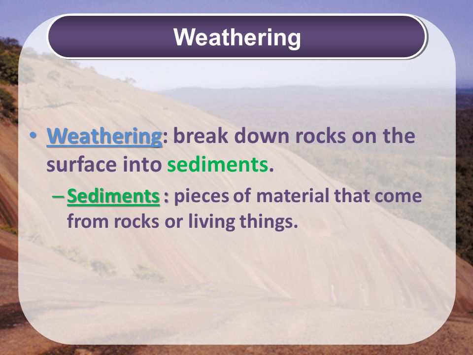 Weathering Mechanical (pg 213)Chemical (pg 215) Freezing & thawing Growth of plants Animal actions sediments wear down exposed rock Abrasion - sediments wear down exposed rock Water (solution) Oxygen (rust) Carbon Dioxide pollutants in the air make water vapor acidic.