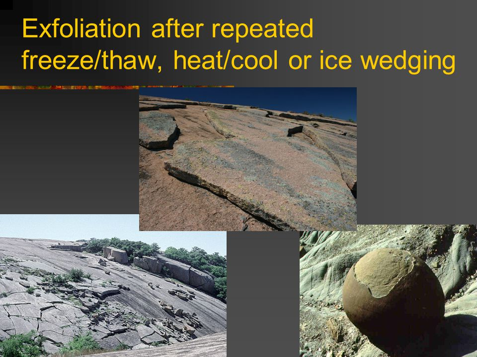 Exfoliation after repeated freeze/thaw, heat/cool or ice wedging
