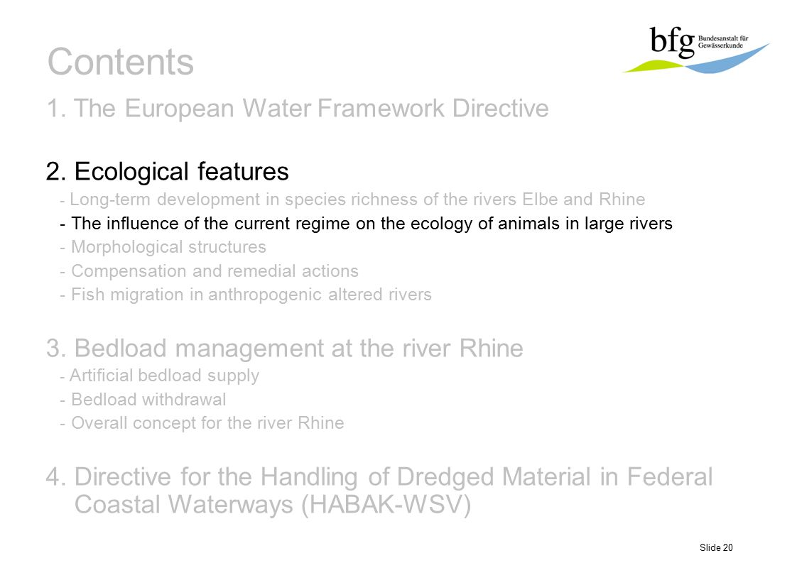 Slide 20 Contents 1. The European Water Framework Directive 2. Ecological features - Long-term development in species richness of the rivers Elbe and