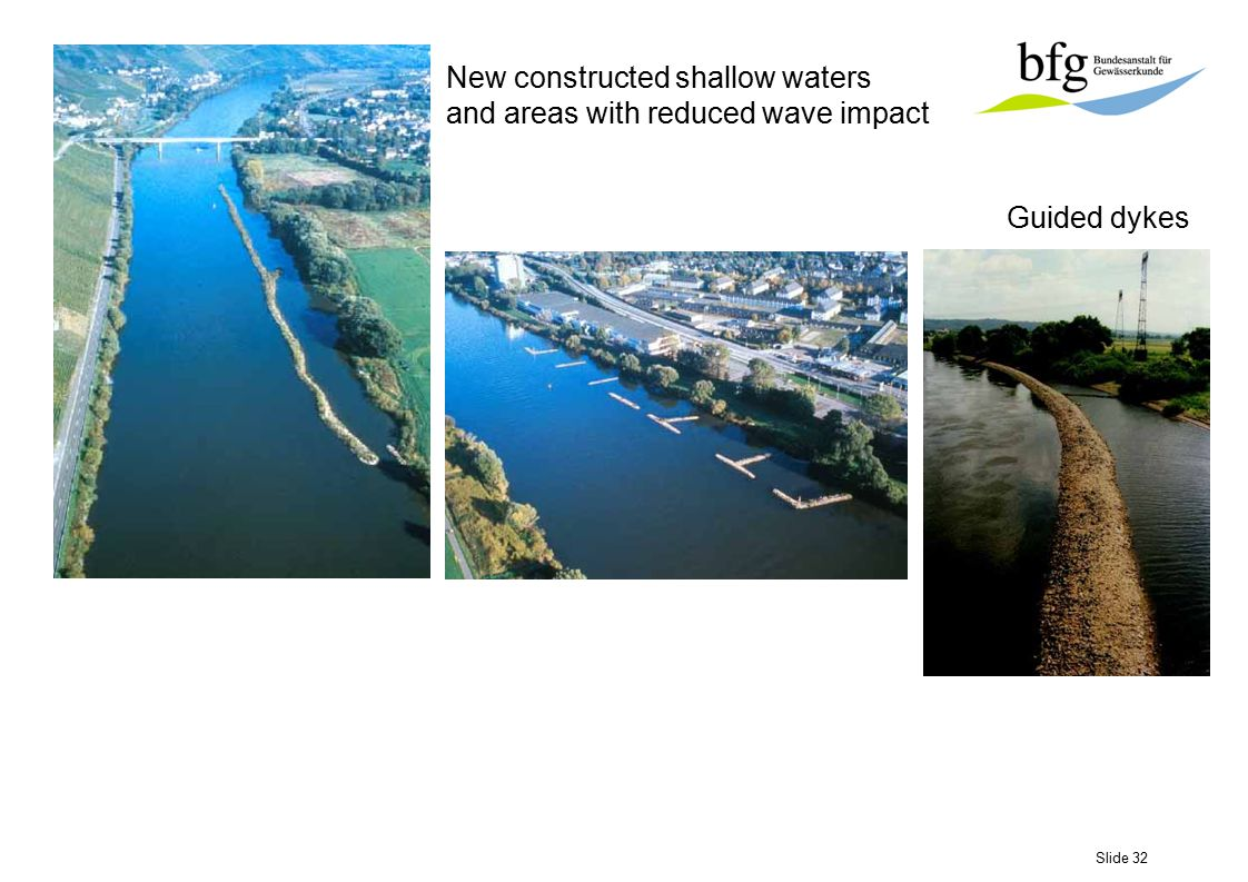 Slide 32 New constructed shallow waters and areas with reduced wave impact Guided dykes