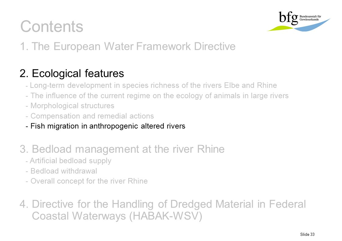 Slide 33 Contents 1. The European Water Framework Directive 2. Ecological features - Long-term development in species richness of the rivers Elbe and