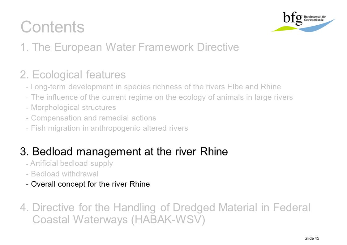 Slide 45 Contents 1. The European Water Framework Directive 2. Ecological features - Long-term development in species richness of the rivers Elbe and