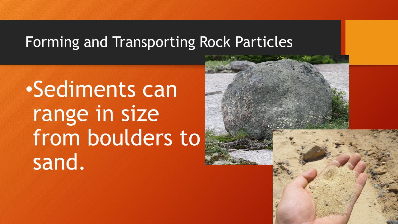 Forming and Transporting Rock Particles Rain washes away tiny rock pieces as it flows downhill.