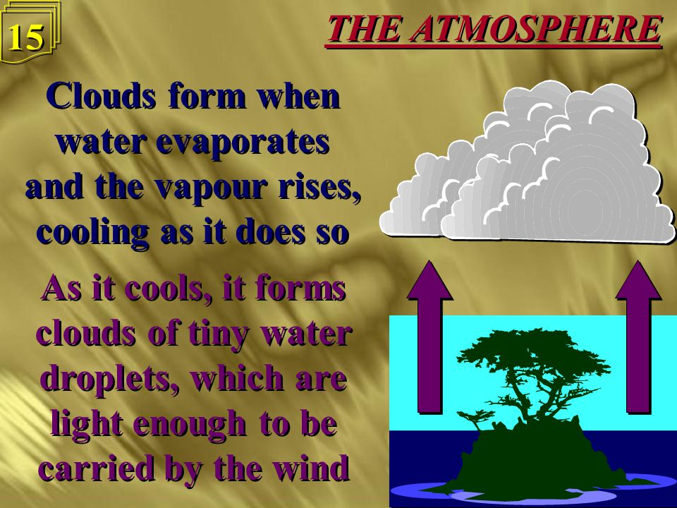 THE ATMOSPHERE 14 Clouds form when water evaporates and the vapour rises, cooling as it does so Clouds form when water evaporates and the vapour rises