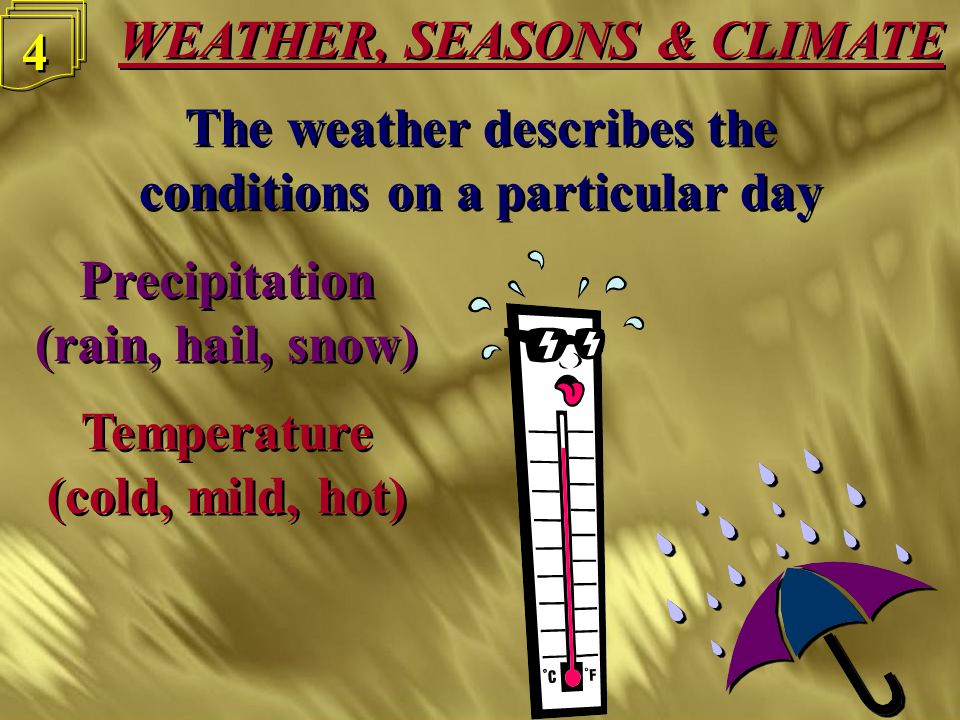 3 3 The weather describes the conditions on a particular day The weather describes the conditions on a particular day Precipitation (rain, hail, snow)