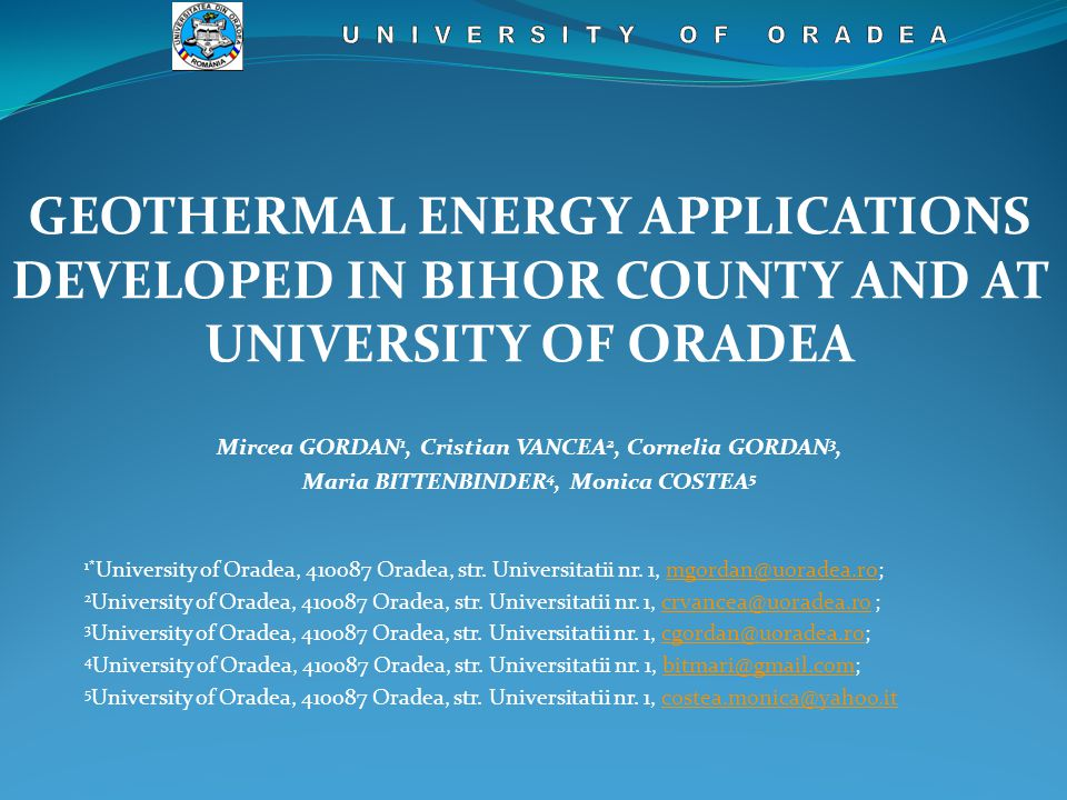 """""""Complex I can be considered as being the most important hydro-geothermal area from west Romania, because contains strong natural springs, which occurred along major fissures, in places were erosion removed quaternary sedimentary layer."""