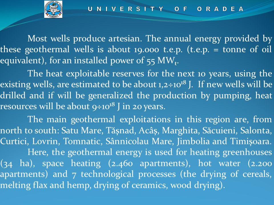 Most wells produce artesian.