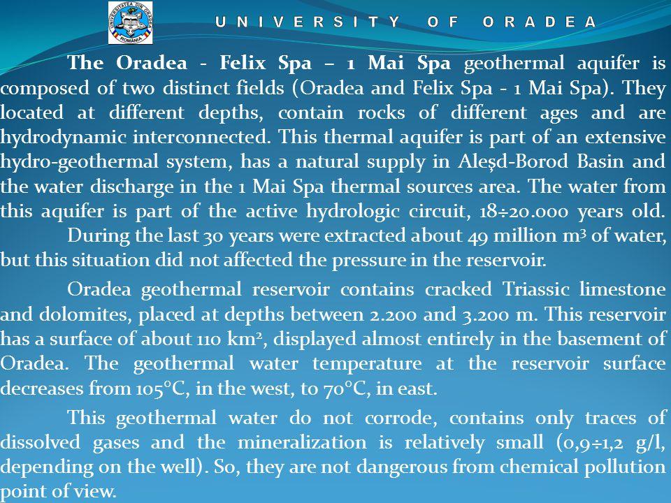 The Oradea - Felix Spa – 1 Mai Spa geothermal aquifer is composed of two distinct fields (Oradea and Felix Spa - 1 Mai Spa).