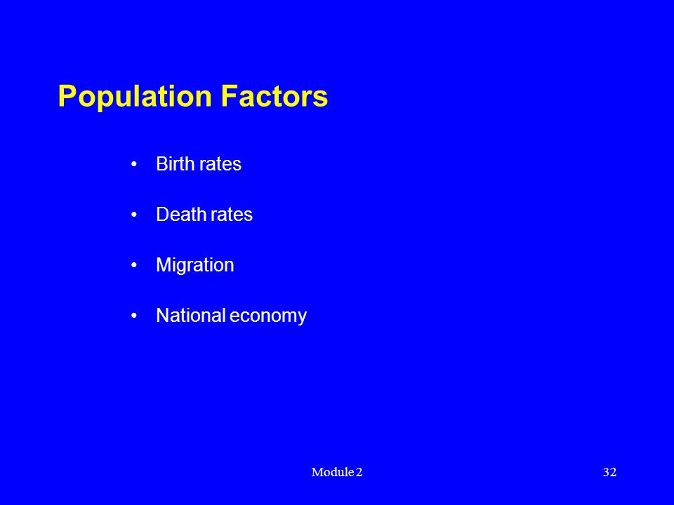 Module 232 Population Factors Birth rates Death rates Migration National economy