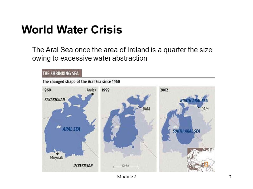 Module 27 World Water Crisis The Aral Sea once the area of Ireland is a quarter the size owing to excessive water abstraction